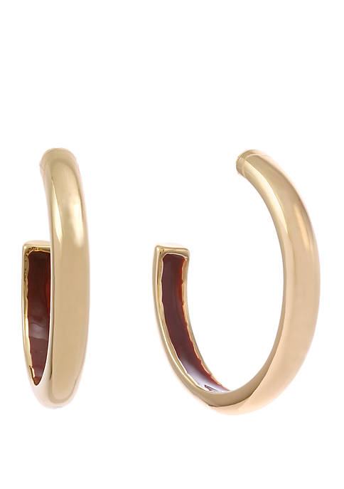 Gold Tone Post Hoop Earrings with Enamel Inside