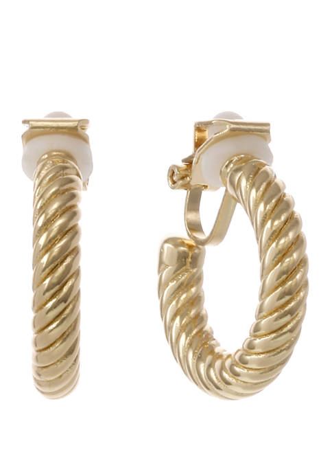 Laundry by Shelli Segal Gold Tone Textured Hoop