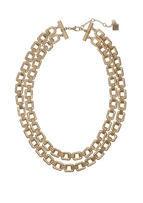 Gold Tone Multi-Row Collar Necklace