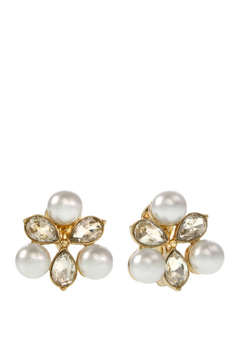 laundry Gold Tone Pearl & Crystal Stone Cluster