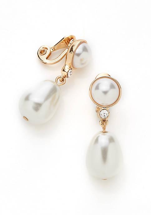 Pearl Drop Clip Earrings