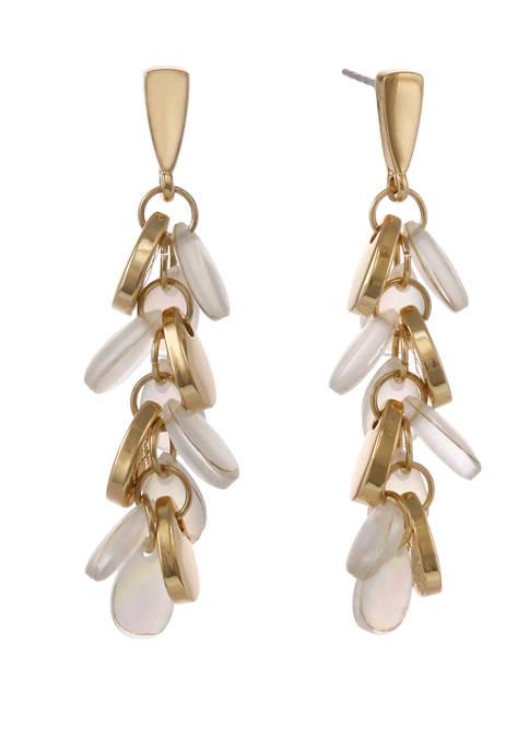 laundry Gold Tone Linear Teardrop Dangle Pierced Earrings