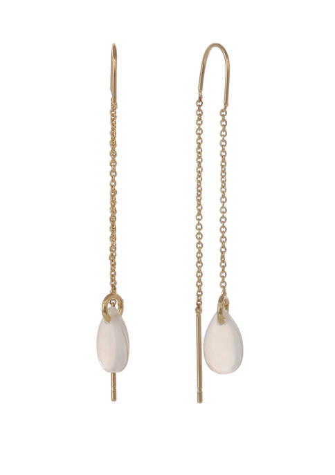 Gold Tone Threader Earrings with MOP Threader Teardrop Bottom