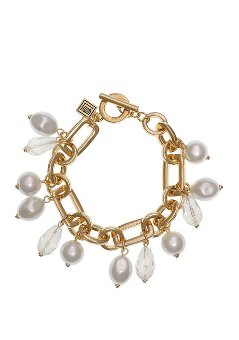 Gold Tone Chain Toggle Bracelet with Shakey Pearl Accents