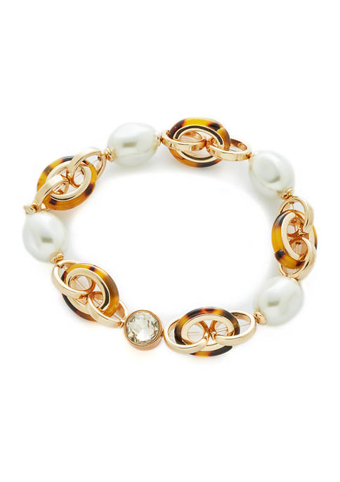 laundry Gold Tone Pearl and Tort Link Stretch