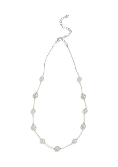 laundry Silver-Tone Long Statement Necklace