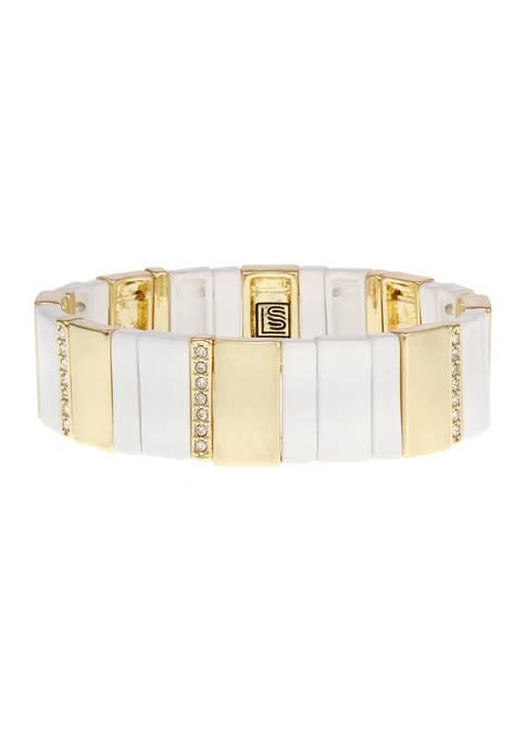 Tile Stretch Bracelet with Stone Accents