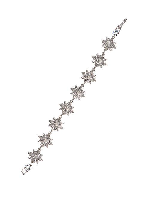 Marchesa Silver Tone White Crystal Flex Bracelet