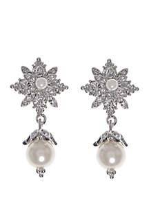 Rhodium White Crystal Post Drop Earrings