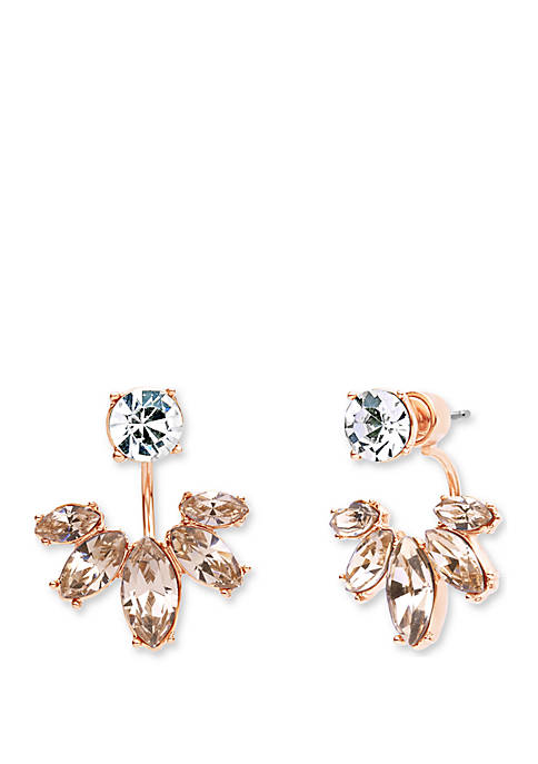 Rose Gold Silk Marquis Floater Earrings