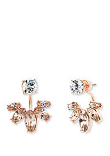 Rose Gold Silk Marquis Floater Earrings