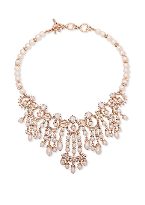 Gold Tone Crystal And White Drama Collar Necklace