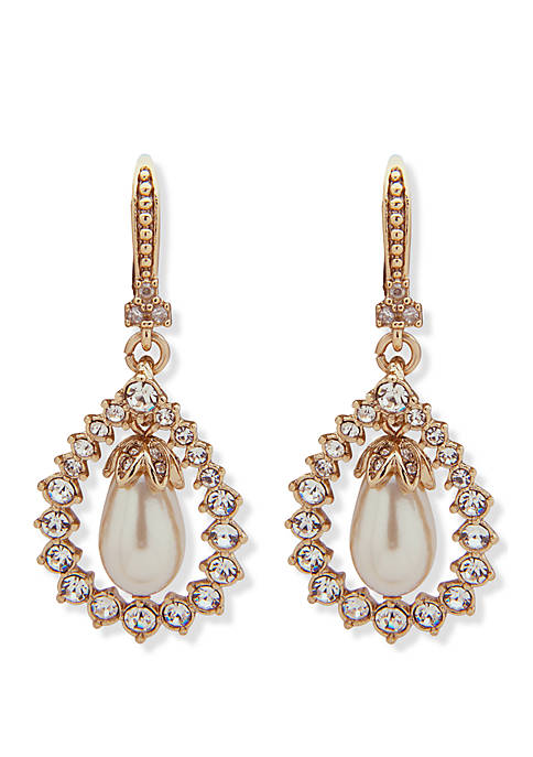 Gold Tone Crystal And White Stone Medium Drop Earrings