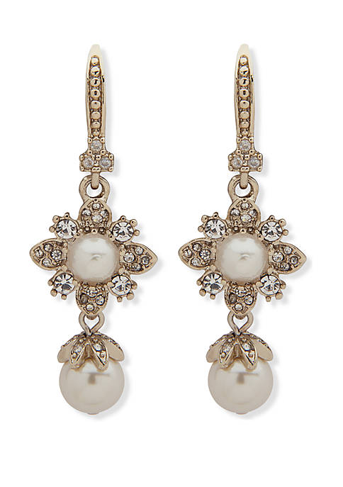 Marchesa Gold Tone Crystal And White Stone Small