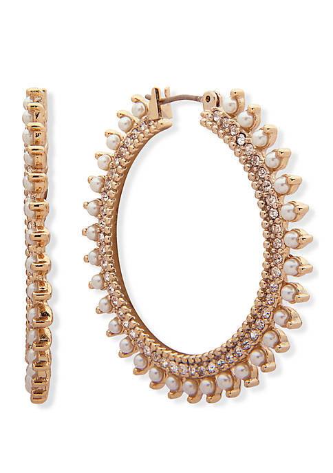Gold Tone Crystal And White Stone Wrap Click Top Hoop Earrings