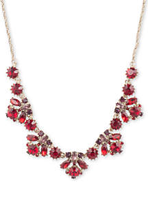Gold-Tone Frontal Multi Crystal Necklace