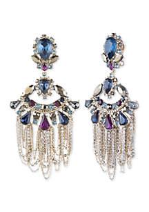 Gold-Tone and Blue Stone Drama Fringe Chandelier Earrings