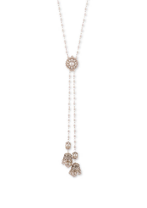 Marchesa Faux Lariat Gold-Tone Necklace