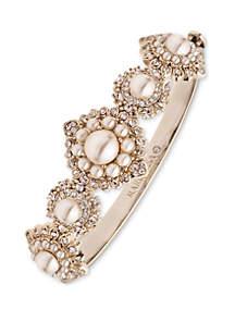 Antiqued Gold-Tone And Pink Blush Flower Bangle Bracelet