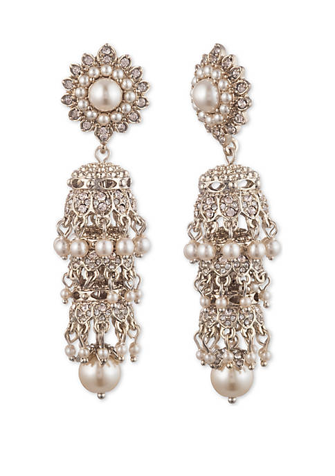 Marchesa Tiered Gold-Tone Linear Earrings