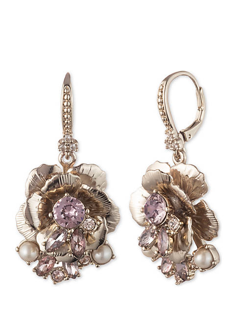 Marchesa Gold-Tone Floral Drop Earrings