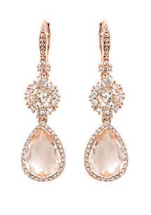 Rose Gold-Tone Cubic Zirconia Double Drop Earrings