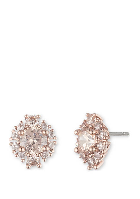 Rose Gold-Tone Cubic Zirconia Cluster Button Earrings