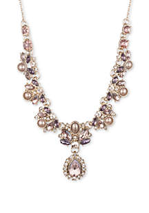 Marchesa Gold Tone Wishing Well Pink and Purple Antiqued Social Y Necklace