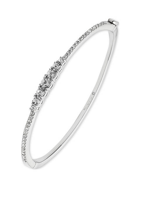 Silver Tone and Crystal Bangle Bracelet
