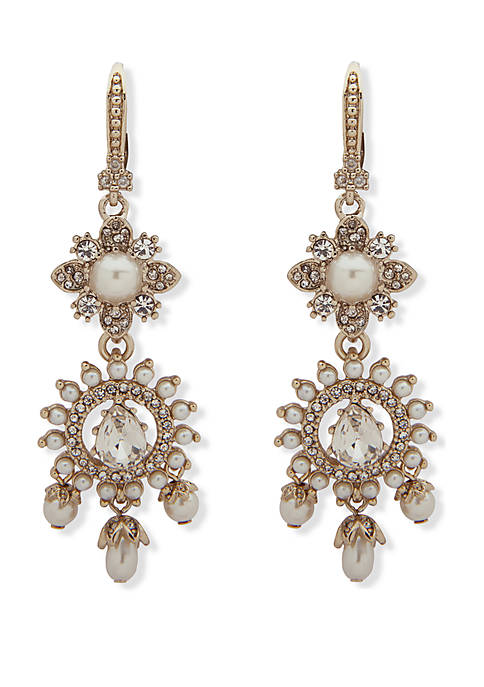 Marchesa Gold Tone Crystal And White Stone Lever