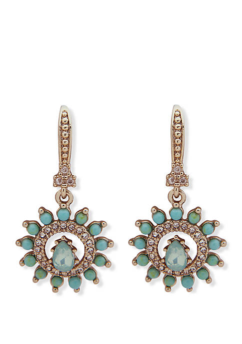 Marchesa Gold Tone Crystal And Turquoise Stone Small