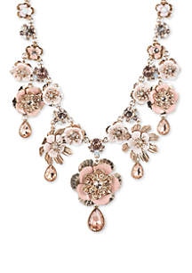 Marchesa Gold Tone And Pink Flower Drama Necklace