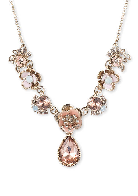 Gold Tone And Pink Flower Y Necklace