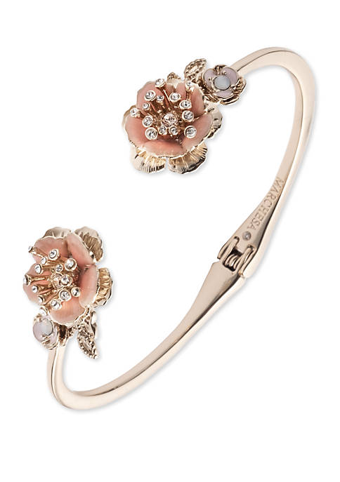 Gold Tone And Pink Flower Open Hinge Cuff Bracelet