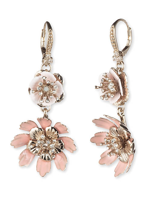 Marchesa Gold Tone and Pink Flower Double Drop
