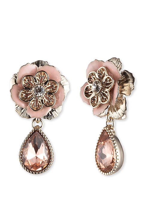 Marchesa Gold Tone and Pink Flower Medium Drop