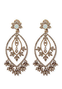 Marchesa Gold Tone And White Opal Large Post Chandelier Earrings