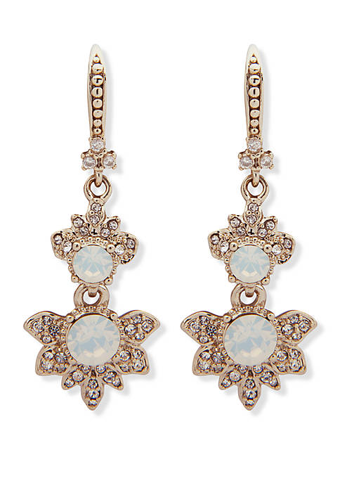 Marchesa Gold Tone And White Opal Double Drop