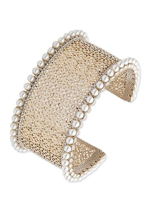 Marchesa Gold Tone Crystal Large Filigree Cuff Bracelet
