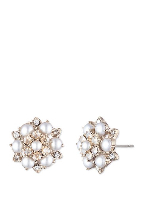 Gold Tone Pearl and Crystal Button Earrings