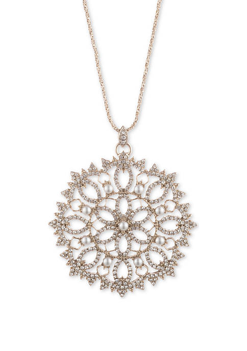 Gold Tone Crystal and White Large Filigree 38 in Adjustable Pendant Necklace