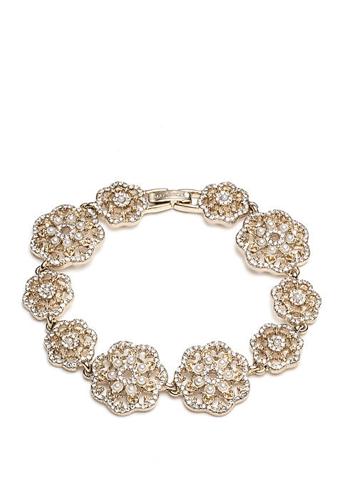 Marchesa Gold Tone Crystal and White Filigree Link