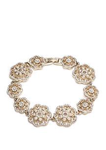 Marchesa Gold Tone Crystal and White Filigree Link Flex Bracelet