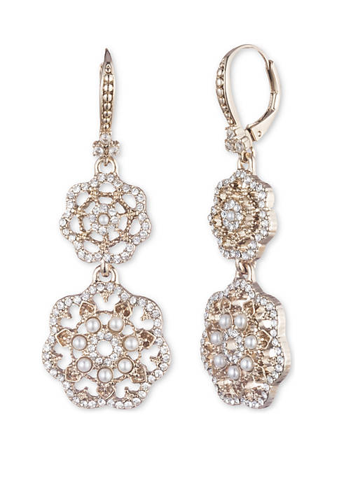 Marchesa Gold Tone Crystal and White Filigree Double