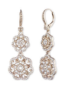 Marchesa Gold Tone Crystal and White Filigree Double Drop Earrings