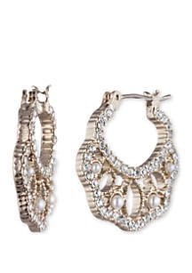 Marchesa Gold Tone Crystal and White Small Filigree Hoop Earrings