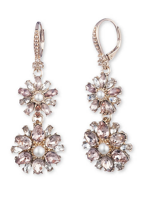 Marchesa Gold Tone Cluster Double Drop Earrings