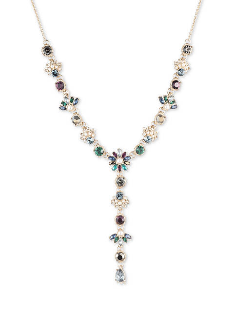 Marchesa Gold Tone Blue Multi Long Y Necklace
