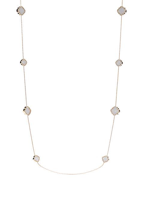 Gold Tone Quatrefoil Stand Necklace