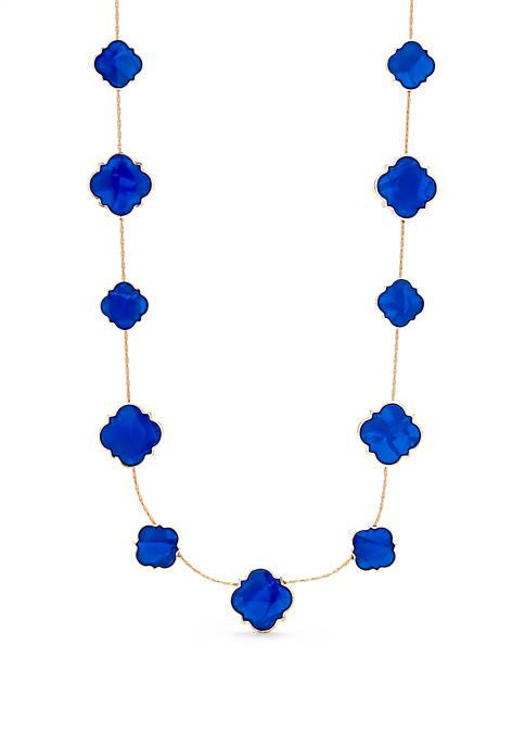 Crown & Ivy™ Gold Tone Quatrefoil Collar Necklace